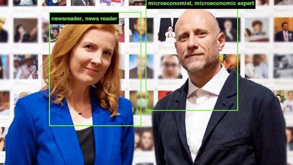 Kate Crawford and Trevor Paglen  (with their misidentified classifications from ImageNet Roulette